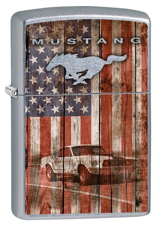 Zippo Lighter: Ford Mustang and American Flag - Street Chrom