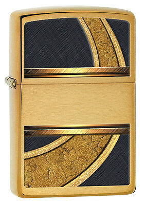 Zippo Windproof Brushed Brass Lighter, Gold & Black, 28673, New In Box