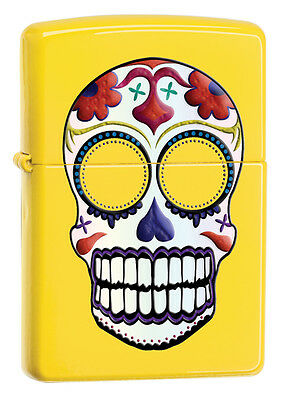 Day Of The Dead Items (Zippo Day Of The Dead Yellow Windproof Lighter, Item 24894, New In)