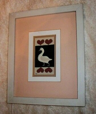 DUCK Needle Sew ART / Matted and Framed  /   REALLY NICE