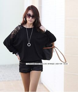 UK Shop Ladies Stylish Loose Batwing Lace Long Sleeved Top / T-Shirt Size 8-14