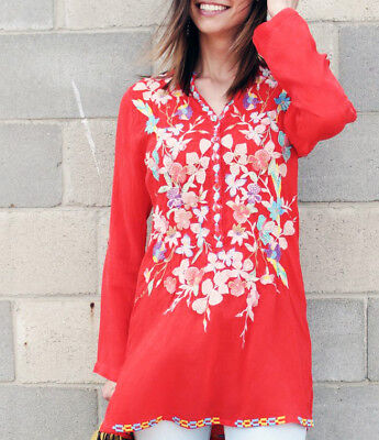 Nwt Johnny Was Sz Xxl 1X  Nikky  Bright Red Orange Embroidered Tunic Top