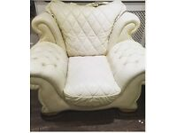 Cream Italian leather large chair