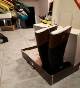 Black/Brown Knee high wide calf boots (size 10.5M)