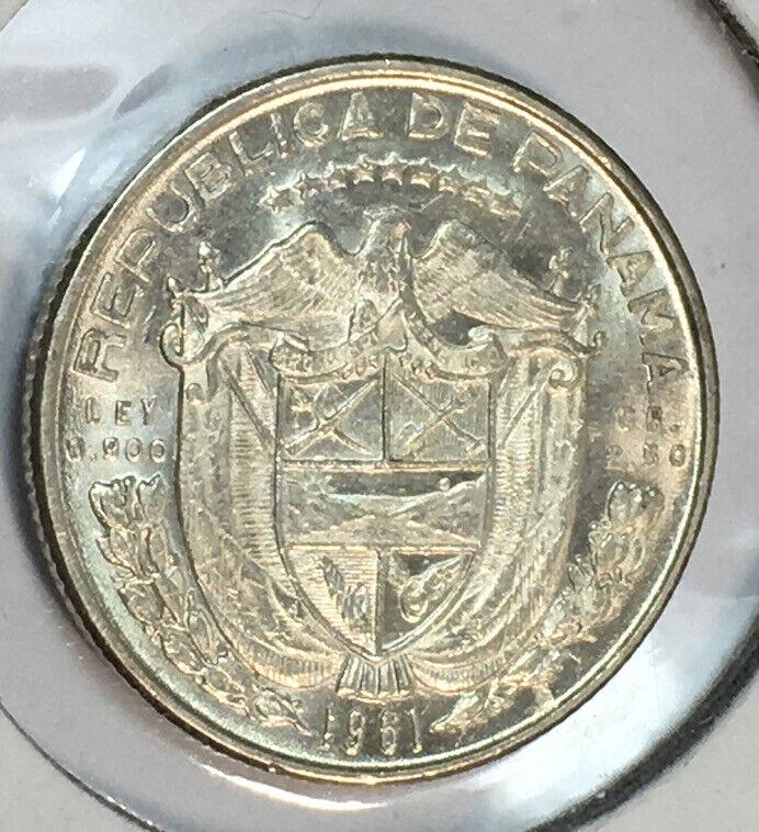Panama 1961 SILVER 1/10 Balboa AU/UNC