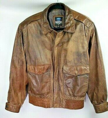 100% Pure Stuff Brown Leather Aviator Flight Bomber Jacket Mens Size Small, used for sale  Shipping to India