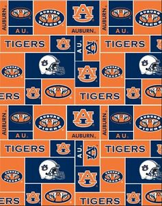 college university of auburn tigers fleece fabric print by the yard sau012 ns. Black Bedroom Furniture Sets. Home Design Ideas