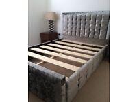 Perfect Silver Velour Diamanté Studded King Size Bed