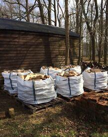 Split hardwood firewood Oak, Ash and Sycamore in vented bulk bags
