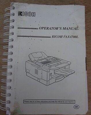 Ricoh Fax 4700L Operator's Manual