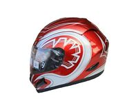 Leopard LEO-818 Full Face Helmet Scooter Motorcycle Motorbike Crash Helmet Red Graphic XS