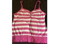Ladies Pink & White Vest Top - Size 12