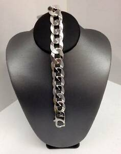STERLING SILVER HEAVY LINK CURB BRACELET 22CM - 49.5GRAMS Caboolture South Caboolture Area Preview