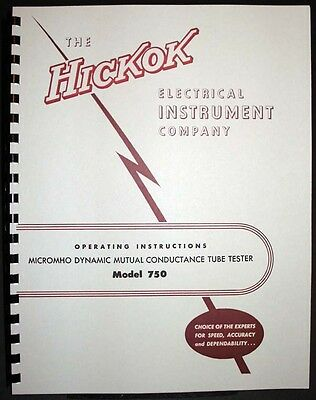 Hickok 750 Mutual Conductance Tube Tester Manual With Tube Data
