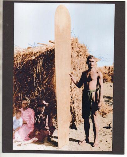 """HAWAIIAN SURFER AND FAMILY NEAR WAIKIKI BEACH 1890s?  COLORED B&W ON 8X10"""" MATT"""