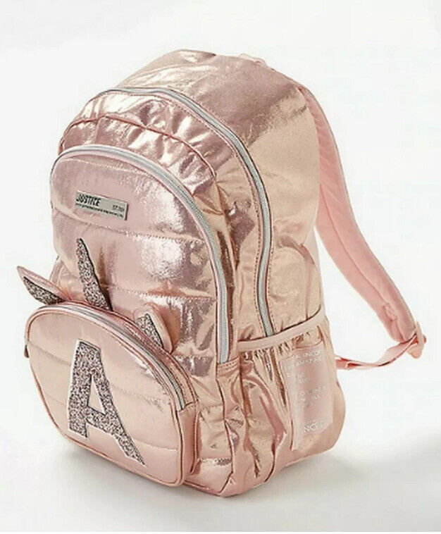 Justice Unicorn Rose Gold Pink Initial G Backpack Full Size NWT New Girl Sparkly