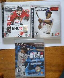 3 DVD jeux pour PS3 jeux de baseball et hockey -telecommande PS3