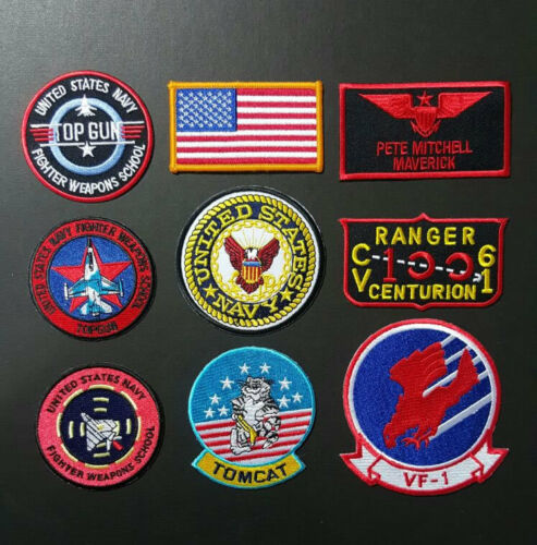 TOP GUN Peter Mitchell Maverick Flight Suit Costume iron 9 Embroidered Patches