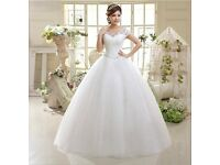 Sparkly Short Sleeves Lace Ball Gown and petticoat