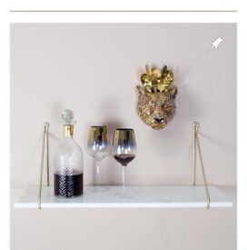 REAL MARBLE and brass shelves (set of 2)