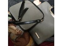 2 Bags: Caide Deor Black Grey Leather Tote Bag, with shoulder Purse.
