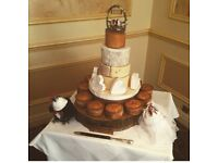 Large wood slice cake stand