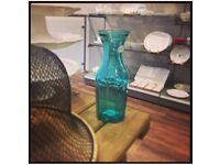 3X teal turquoise Vidrios San Miguel recycled glass carafes