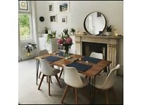Handmade wooden tables, desk, benches with industrial hairpin legs