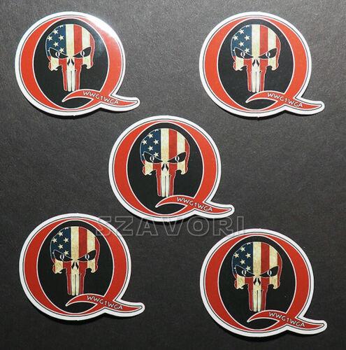 "Set of 5 QAnon WWG1WGA Vinyl Stickers (2"" wide) with Patriot Punisher Skull"