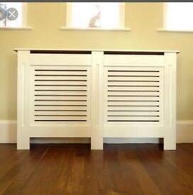 Horizontal Grill White Painted Radiator Cover - Large With Extra Height