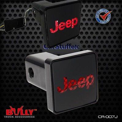 Bully Hitch Brake Light Jeep Back-lit Logo 2 Inch Receiver fits four prong plug Logo Hitch Plug