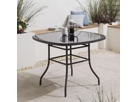 Garden Table steel frame with tempered glass top, 96.5cm