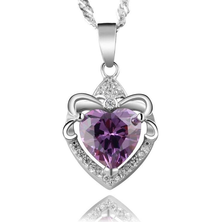 $9.00 - Women's Purple Crystal Heart Pendant 925 Sterling Silver Chain Necklace Jewelry