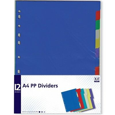 12 x A4 Plastic Dividers Organiser School Folder Anneau Binder Index Tabs