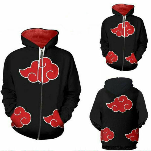 Naruto Akatsuki Cosplay Hoodie Sweatshirt Ziper Jacket Sweater Shirt Costume M