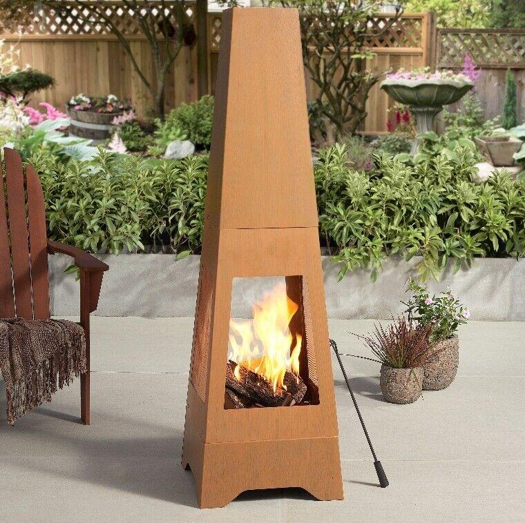 Wood Burning Chiminea Outdoor Steel Fireplace Backyard ...