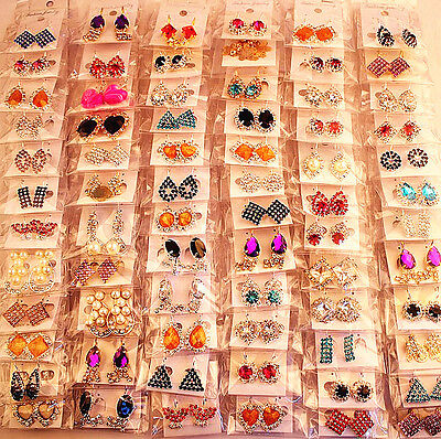 wholesale 36 pairs mixed multi-colour womens metal rhinestone crystal earrings Womens Mixed Metal