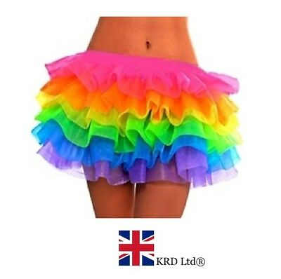 Supremes Fancy Dress Kostüme (Supreme Ruffle NEON RAINBOW TUTU Layered Ra Ra Skirt Pride Party Fancy Dress UK)