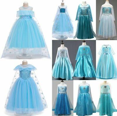 Elsa Snow Queen Dress Princess Halloween Costume Girl 2T-12 USA 10+