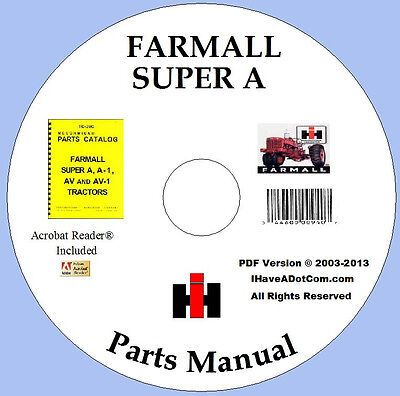 Farmall Super A And Av Parts Catalog Pdf Manual