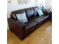 3 Seat brown leather Sofa hardly used