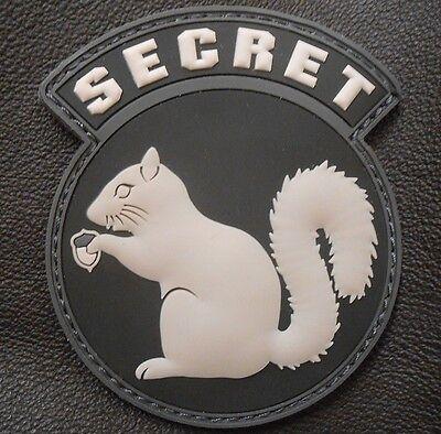 TOP SECRET SQUIRREL BLACK OP RUBBER PVC SWAT USA VELCRO® BRAND FASTENER PATCH