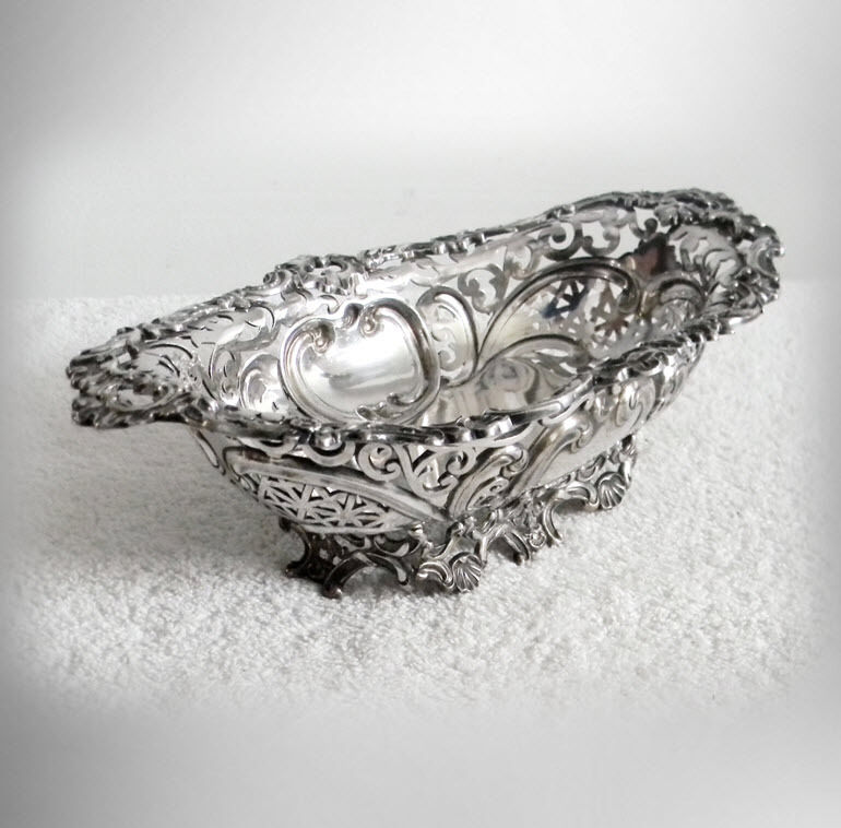 Derby silver plate centerpiece bowl with ornate pierced design