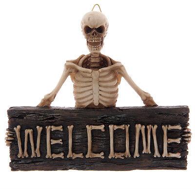 Tür+Halloween+Skelett+Schild+Skull+Totenkopf+Dekoration+Eingangsschild+Türschild
