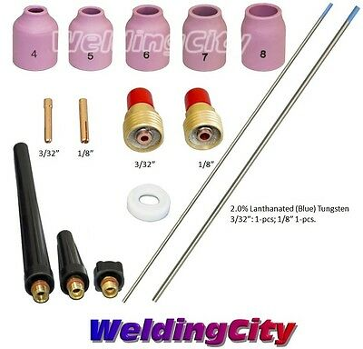 Tig Welding Torch 920 Kit Gas Lens-tungsten Blue 332-18 T51b Us Seller