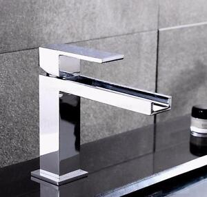 Modern Chrome Waterfall Single Hole Faucet for Bathroom Sinks
