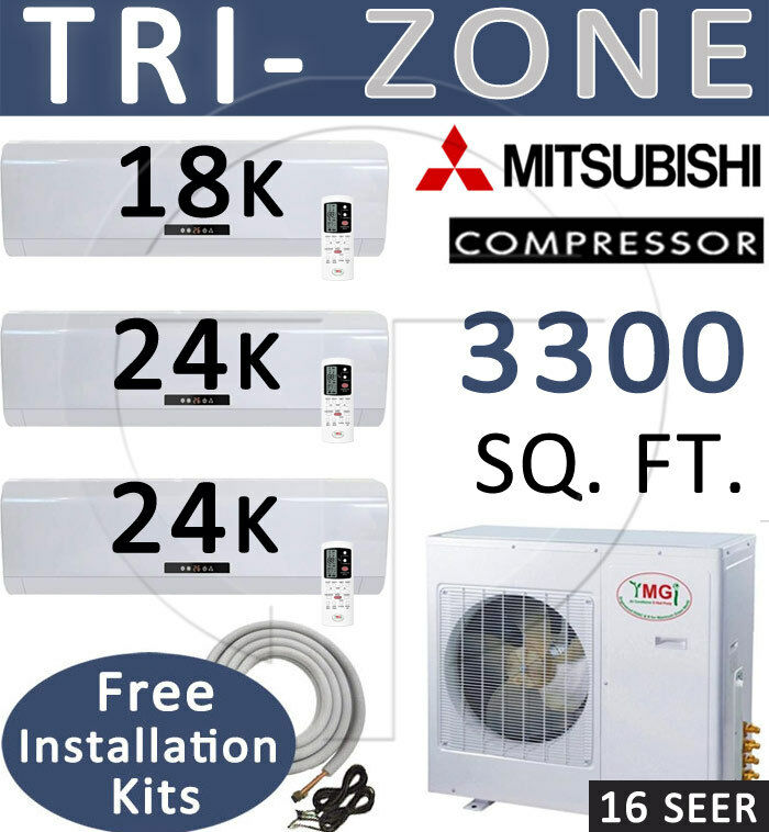 5 Ton Tri Zone Ductless Mini Split Air Conditioner Heater, 18000 + 24000 X 2 Btu