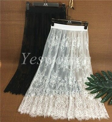 Lady Cotton Lace Floral Lace Half Slips Under Dress Underskirt Petticoat 74cm (Lace Petticoat)