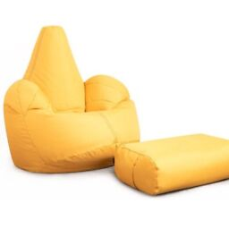 Oria yellow faux leather highback beanbag chair with matching footstool