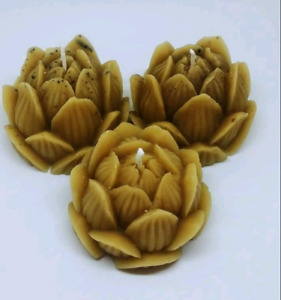 Natural beeswax Lotus flower shape candles new age hippy buddha